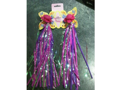 ADIE Pink Windmill Flower Bicycle Streamers fit to Handlebar / Bike Tassels