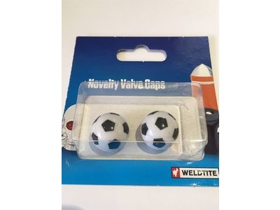 WELDTITE Novelty Valve Caps (Pair). Fits Schraeder Valves Football  click to zoom image