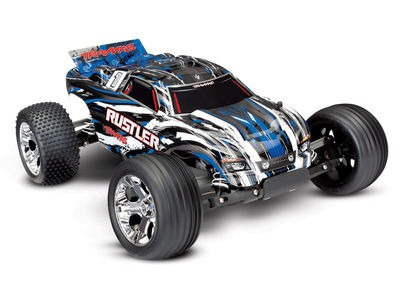 TRAXXAS Rustler XL-5 2WD (TQ/No Batt or Chg) 1/10 scale Black/White/Blue  click to zoom image