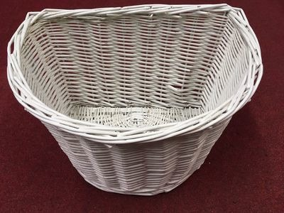 "PREMIER D Shaped 16"" Wicker Basket (Colour Option). 16""x12""x10"" White  click to zoom image"