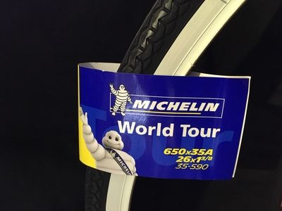 MICHELIN 26 x 1-3/8 World Tour 650 x 35A (35-590). 26 x 1-3/8 white wall  click to zoom image