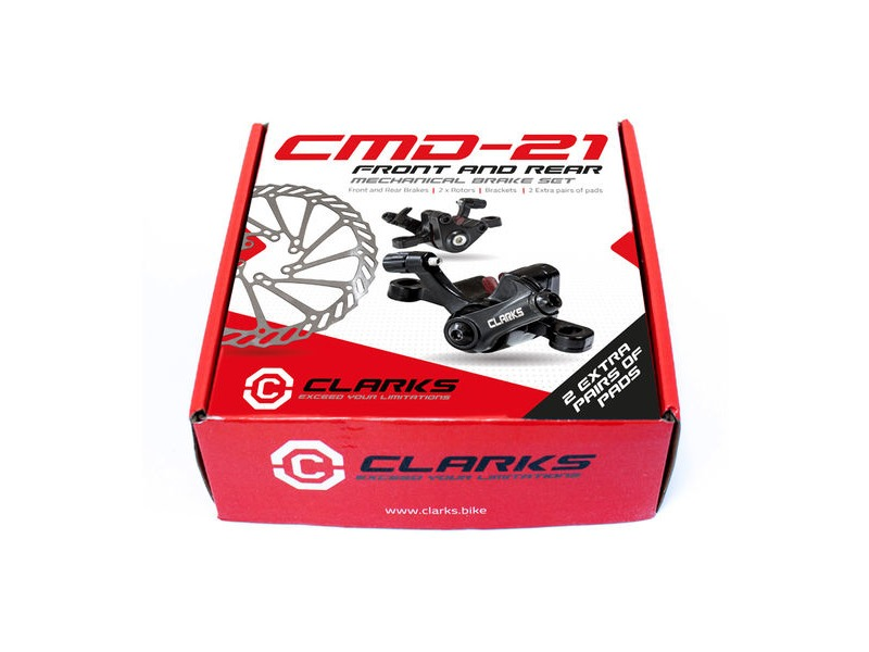 CLARKS CYCLE SYSTEMS CMD-21 Front & Rear Mechanical Disc Brake Set 160mm Rotors click to zoom image